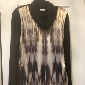 Soft satin print front with solid back